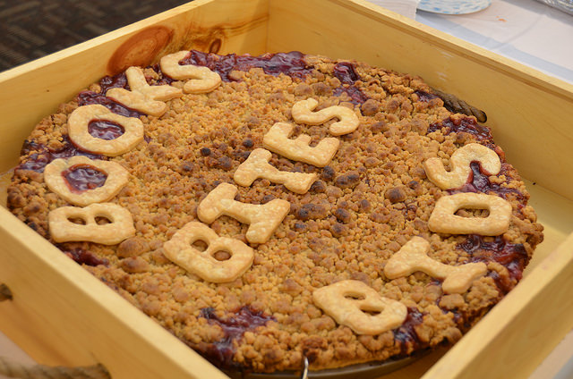 Large pie celebrating Books, Bites, and Bids fundraiser, courtesy of Grand Traverse Pie Company