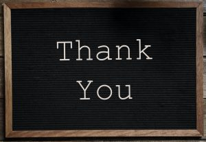 Letter board sign reading Thank You