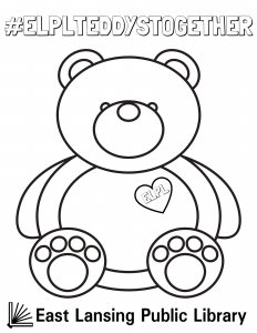 #ELPLTeddysTogether, teddy bear illustration with heart on its chest reading ELPL for coloring, East Lansing Public Library logo