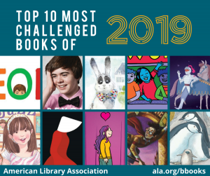 """""""Top 10 most challenged books of 2019."""" Image of the the ten book covers."""