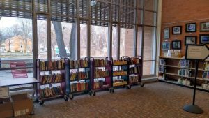 Book carts of used books for sale at the library