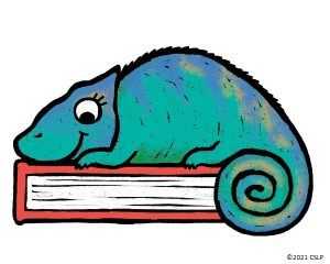 A chameleon is sitting on a book, summer reading art